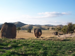 Boulders scattered on hillsides Central New South wales 2