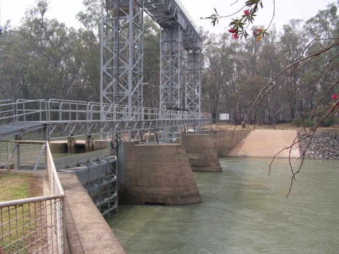 Large Weir and Superstructure. Hay
