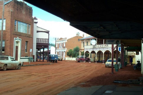 Gaskill St covered in soil for shooting of 'Kangaroo Jack'. Photo courtesy of Fed Foto.